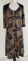 LEONA EDMISTON RUBY Taupe/Navy Print Stretch Knit Dress Size XS