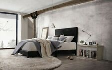 1p Contemporary Twin Size Black Finish Pu Padded Headboard Bed Bedroom Furniture