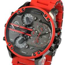 New DIESEL DZ7370 Mens Watch Mr.Daddy Red Gray Color Chronograph Silicone DZ7370