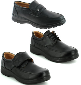 Mens Shoes Black Soft Casual Wide Size 6,7,8,9,10,11,12 Touch Fastener or Laced