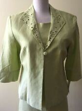 JESSICA HOWARD Lime Green 2 Piece Suit   Dress Plus Jacket   Linen   Size 10 NWT