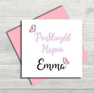 Personalised Welsh Birthday Card Penblwydd Hapus Mamgu Nan Nain Daughter Mami