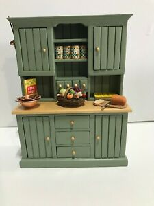 Miniature Dollhouse Kitchen Hutch 1:12 including accessories