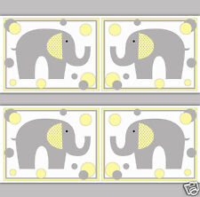 Safari Elephant Wallpaper Border Wall Art Decal Yellow Grey Gray Nursery Sticker