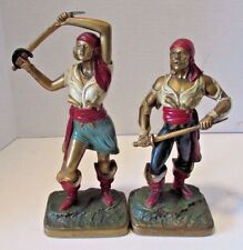 Antique K&O Polychrome Pirate Couple Bookends Kronheim + Oldenbusch Buccaneers