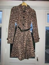 BNWT £70 UK 8 River Island Coat Jacket Leopard Print Swing Mac Trench Dress Up