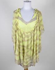 CECILIA PRADO beige bright green striped short sleeve knit poncho-like blouse M