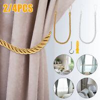 2/4PCS Curtain Tie Back Ball Rope Holdback Buckle Home Window Room Decor w/Screw