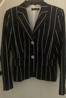 Women's Mila Paoli  Fitted Stretch Shaped Blue pinned Striped Jacket Size 10/12
