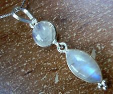 Rainbow Moonstone Necklace 925 Sterling Silver Two Gem Round Marquise Cabochon