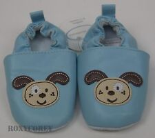 First Moments Infant Baby Blue Dog Slipper Shoes Size 18-24 months NWT