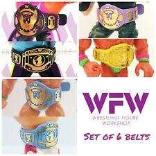 Belts for WWF Hasbro WWE Mattel Wrestling - 6x Belt Black, Blue & Colors Set