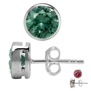 6MM Round Simulated Color Change Alexandrite 925 Sterling Silver Stud Earrings