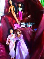 lot 4  poupées mannequin mattel et disney +5piéces vétements