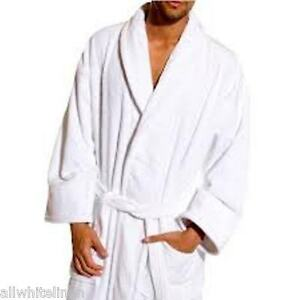 CLEARANCE LOT A GRADE WHITE HOTEL 100% COTTON TERRY BATHROBE UNISEX S/M OR M/L