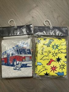 NWT Baby Gap Boy SUMMER 2-pair pajama SET yellow dinosaur red fire engine 12 18