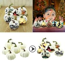 6Pcs Halloween Harvest White Artificial Pumpkins Fall Thanksgiving Decorative