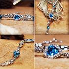 Nice Fashion Jewelry Women Ocean Blue Crystal Rhinestone Heart Bangle Bracelet