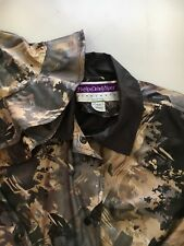 MaryLou Ozbolt Storer Fibrearts Seattle Gray Black Raincoat w/ Cap Womens Small
