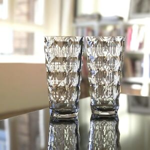 22 oz Diamond Cut Pattern Clear Smoke Grey Acrylic Plastic Glass Tumbler 8pc set