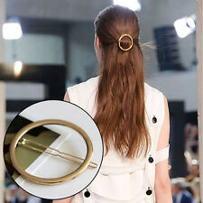 New Lovely Hollow Out Geometry Round Gold Plated Hair Clip Hairpin Snap