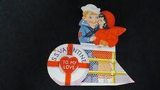 Vintage Sailor couple Valentine Card c. 1940s
