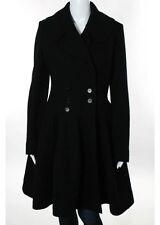 Alaia Black Wool Crew Neck Long Sleeve Button Front Coat Size European 42