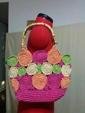 Colorful Summer Straw Bag Purse Double Bamboo Handles Quatre Saisons Wide Bottom