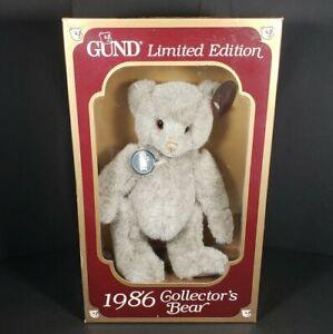 Vintage Gund Teddy Bear Collectible 1986 Gray Stuffed Plush