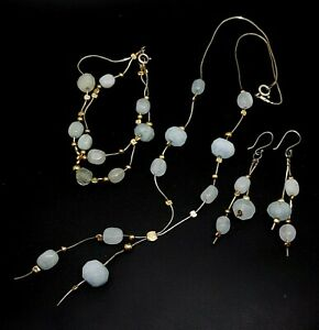 Sterling Silver 925 Aquamarine  necklace earrings bracelet set gold accents