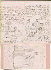 GB ca 1850s - VIC CORRESPONDENCE - LETTERS, POEMS, THOUGHTS -  4 WITH SKETCHES