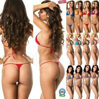 COQUETA Women Sexy Micro Thong Brazilian Bottom Swimsuit Set Mini teeny bikini