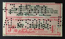 Missouri State Revenue, #B230a - Beer Tax, used - July 15, 1960 Perfin Cancel MO