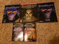 2 Starcraft strategy guides, additional Starcraft booklet and 2 Halo books