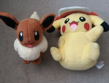 Pokemon Pikachu With Hat & Eevee Soft Toy Plush Teddy