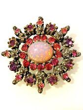 Vintage Estate Signed Coro Pink Rhinestone Faux Opal Glass Flower Pin Brooch
