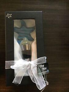 murano swirl wine bottle stopper Starfish Blue New In Box