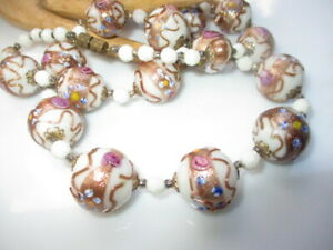 503 - MURANO MILK GLASS WEDDING CAKE BEAD NECKLACE HP GOLD PINK blue ENAMELS