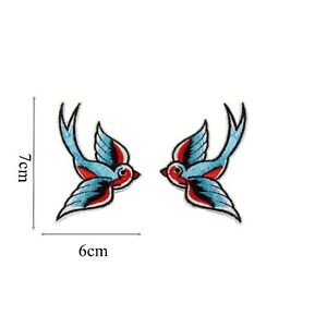 Iron On Patch Swallow set Tattoo Style Biker Badge Motif Emboirdered P376