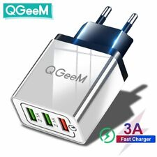 QGEEM 3 USB Charger Quick Charge 3.0 Fast USB Wall Charger Portable Mobile White