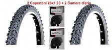 """2 Copertoni Neri 26x1,90 + Camere d'aria Deestone per Bici 26"""" MTB Mountain Bike"""