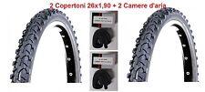 "2 Copertoni Nero 26x1,90 + Camere d'aria Deestone per Bici 26"" MTB Mountain Bike"