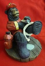 Black Bear Firefighter on the Hose Hydrant #9 Resin Figurine Rescue Fireman