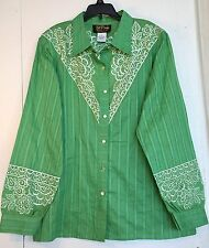 New BOB MACKIE Wearable Art Sz L Green Embroidered Button Front BLOUSE Shirt Top
