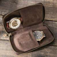 Watch Pouch Bag Vintage Leather Zipper Around Watches Case Storage Handmade Box
