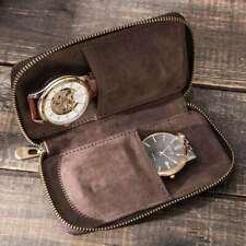 Watch Pouch Bag Vintage Leather Zipper Around Watches Case Storage Handmade Box