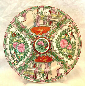 """Vintage Chinese Porcelain ROSE MEDALLION DINNER PLATE w/People Hand-Painted 10"""""""