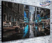 New York Manhattan Rainy Day Panoramic Canvas Print XXL 4.5 ft wide x 2 ft high