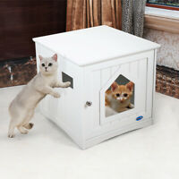 Decorative Cat House Hidden Washroom Nightstand Litter Box Cover Enclosure White