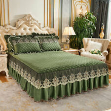 Embroidery Lace Velvet King Size Bed Cover Fitted Sheet Quilted Queen Pillowcase